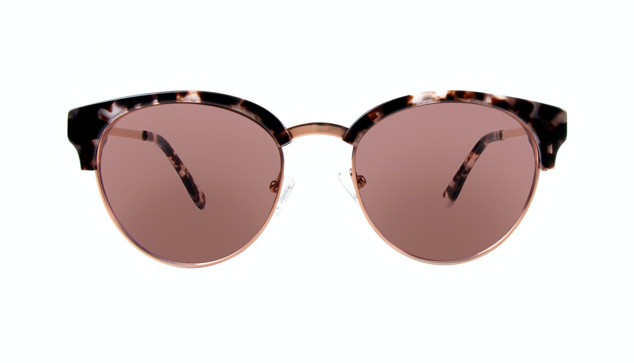 Affordable Fashion Glasses Round Sunglasses Women Allure Mocha Tortoise Front