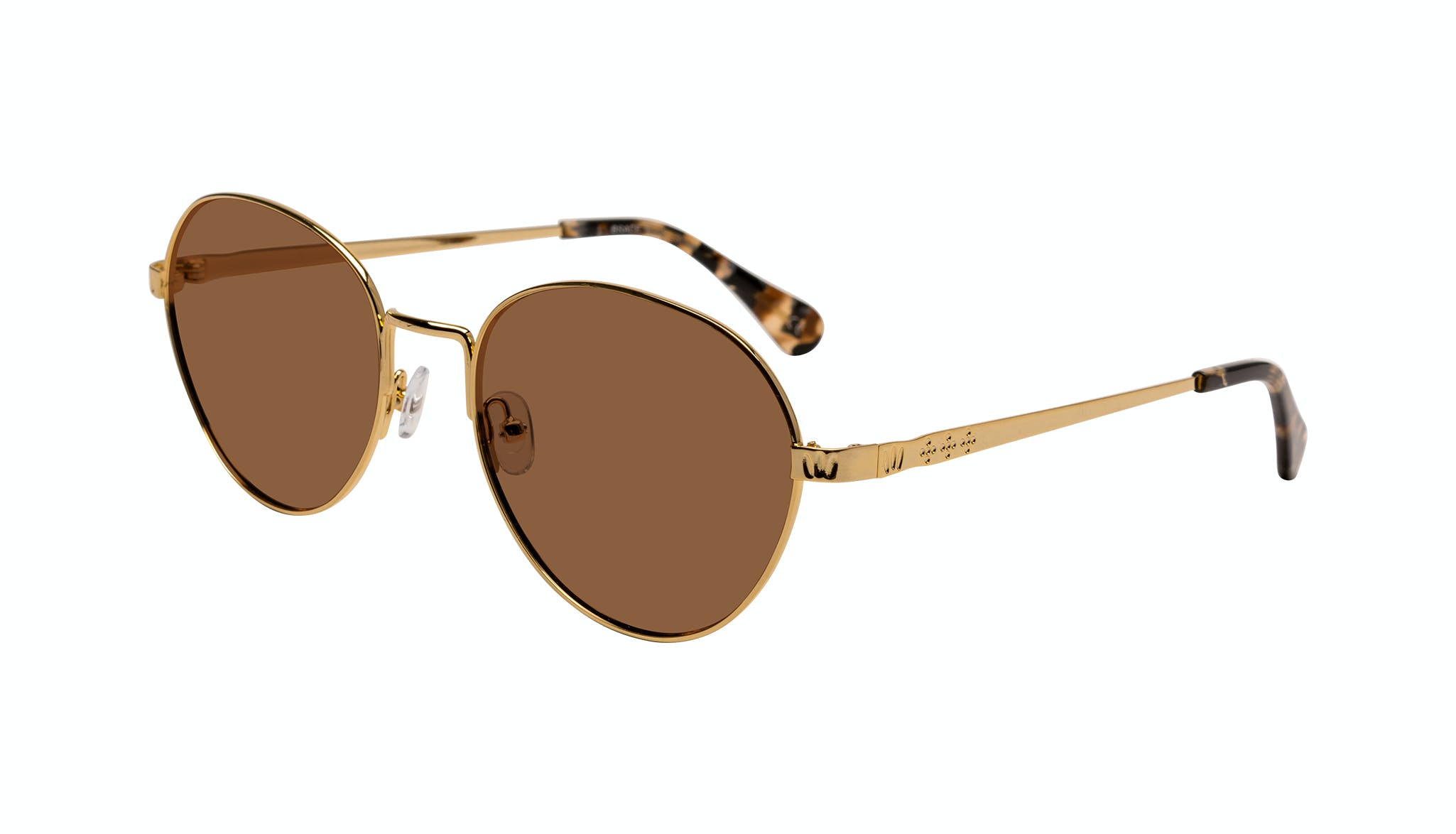 Affordable Fashion Glasses Round Sunglasses Women Brace Plus Gold Tilt