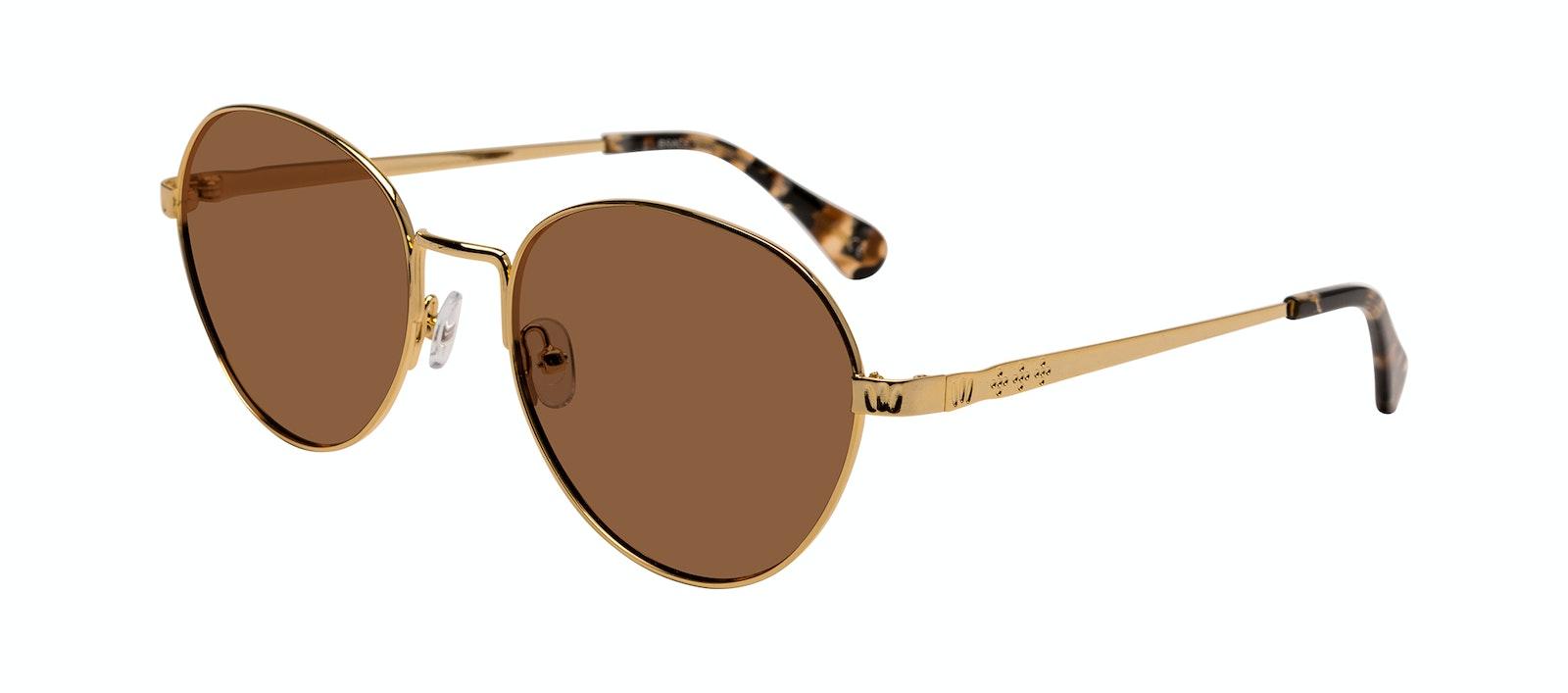 Affordable Fashion Glasses Round Sunglasses Women Brace Plus Gold Tilt