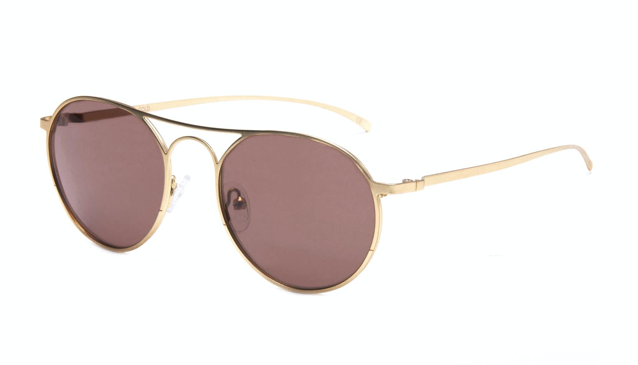 Affordable Fashion Glasses Aviator Round Sunglasses Men Contour Gold Tilt