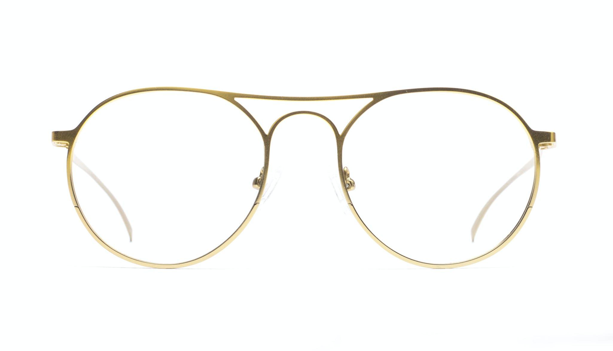 Lunettes tendance Lunettes aviateur Ronde Lunettes de vue Hommes Contour Gold