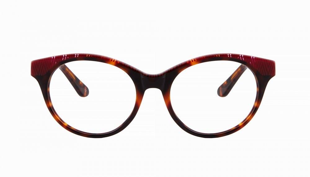 Lunettes tendance Oeil de chat Ronde Optiques Femmes Beatrix Sepia Carmine Face