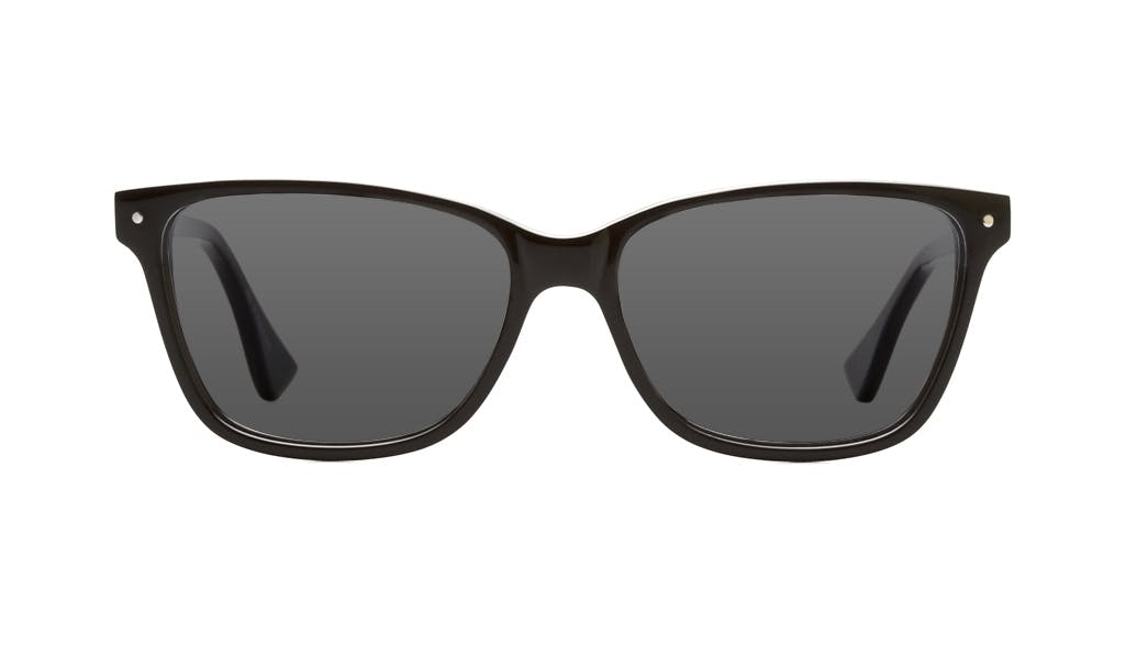Affordable Fashion Glasses Rectangle Sunglasses Women Honeybadger Black Front