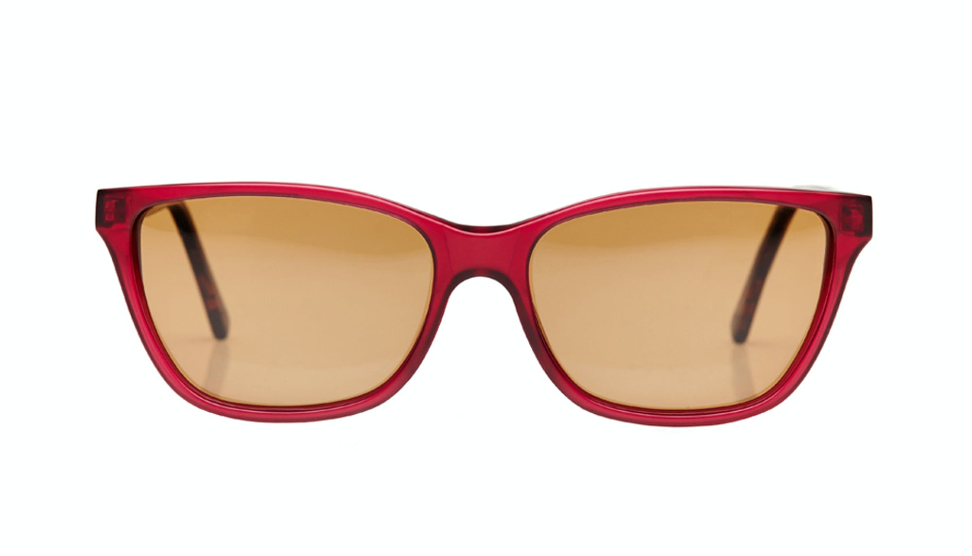 Affordable Fashion Glasses Rectangle Sunglasses Women Honeybadger Frosted Cherry Front