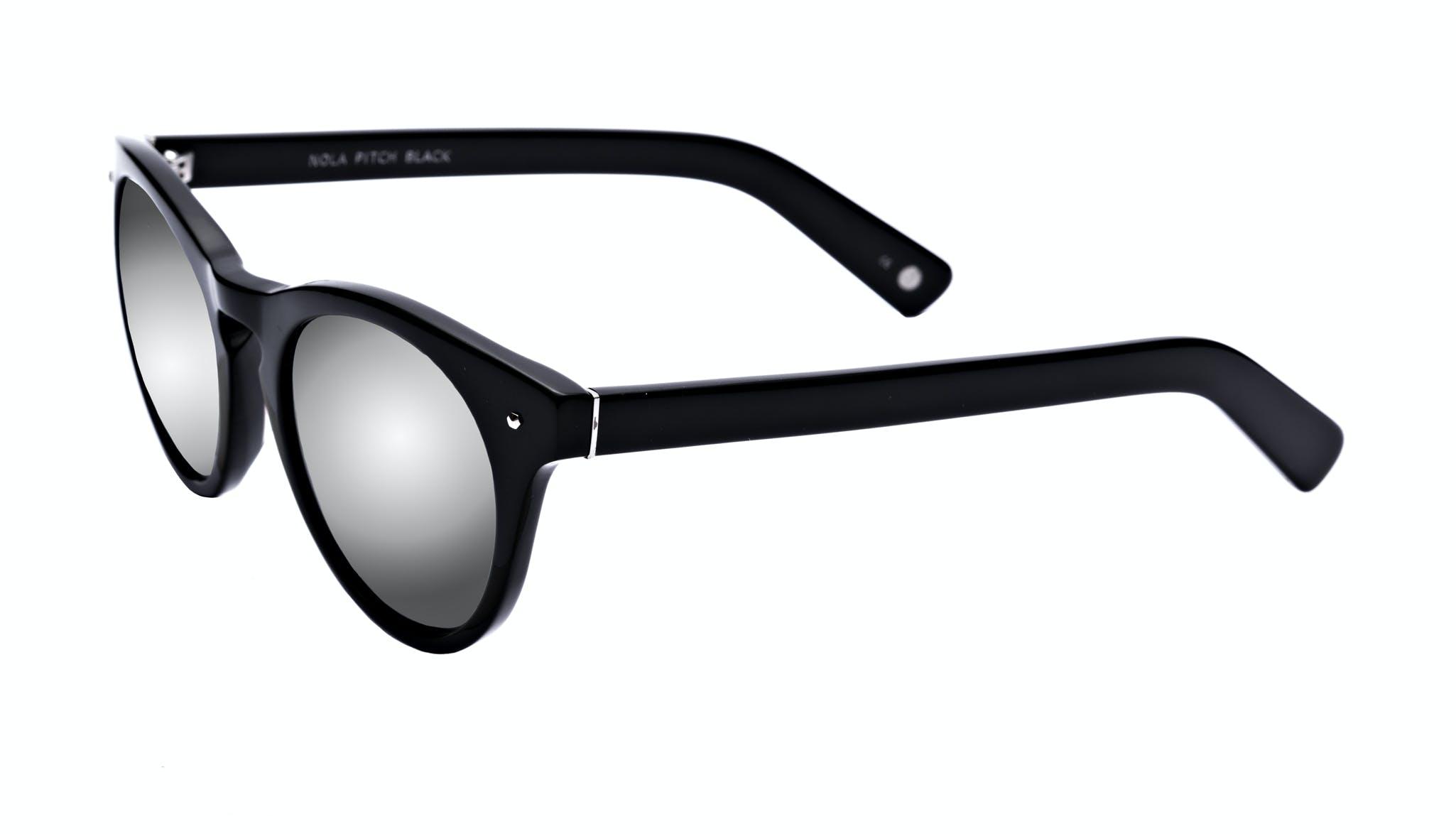 Affordable Fashion Glasses Cat Eye Round Sunglasses Women Nola Pitch Black Tilt