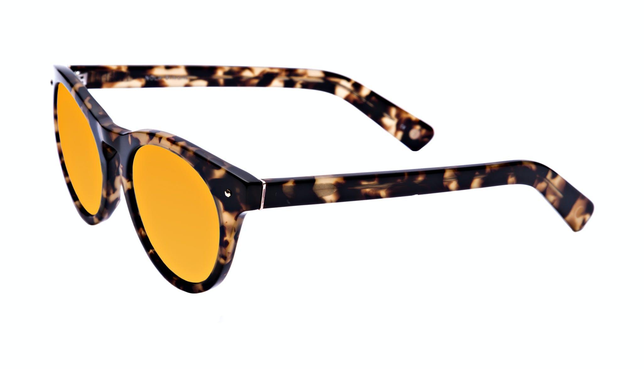 Lunettes tendance Oeil de chat Ronde Lunettes de soleil Femmes Nola Bingal Incliné