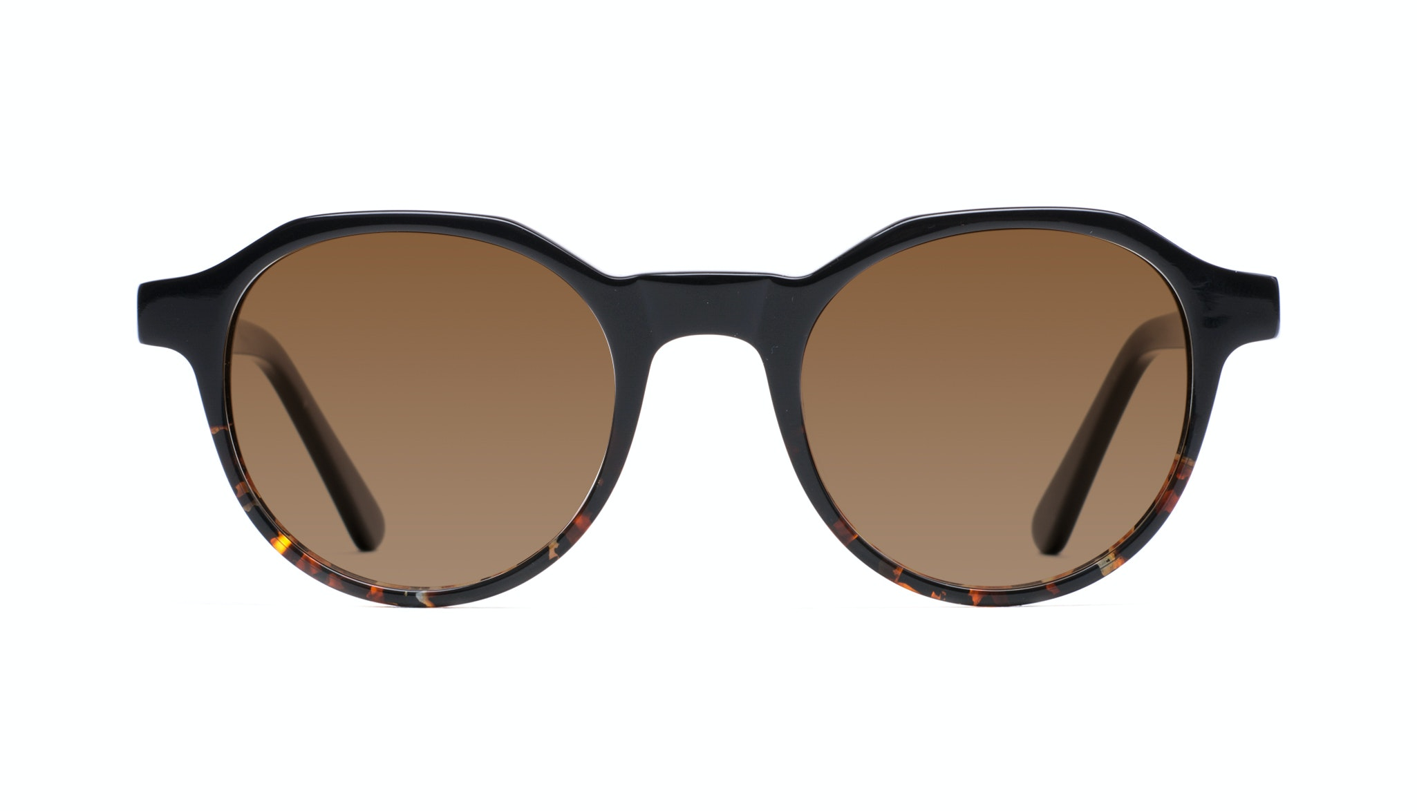 Affordable Fashion Glasses Round Sunglasses Men Form Black Mahogany Front