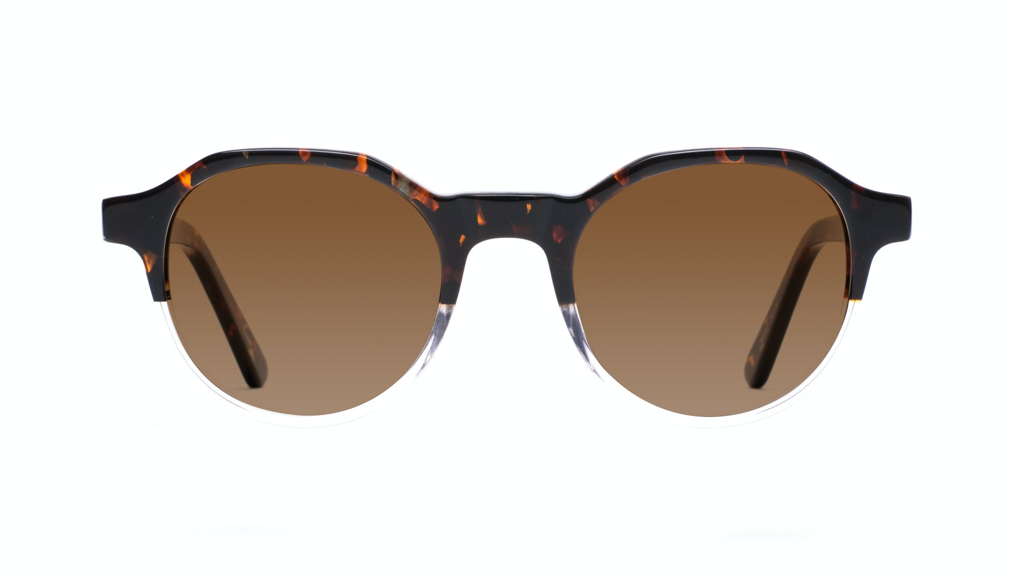 Affordable Fashion Glasses Round Sunglasses Men Form Mahogany Clear Front