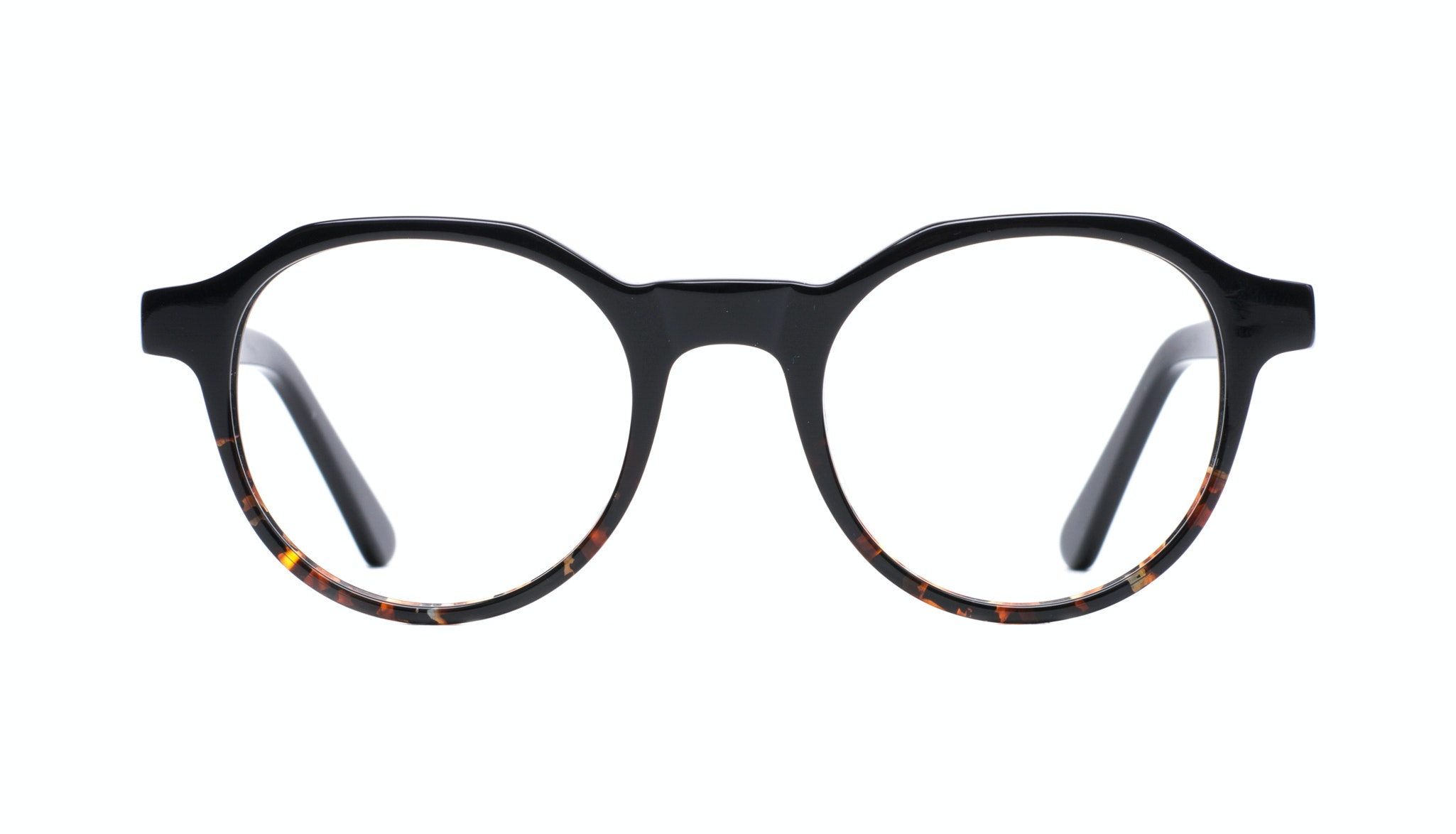Affordable Fashion Glasses Round Eyeglasses Men Form Black Mahogany Front