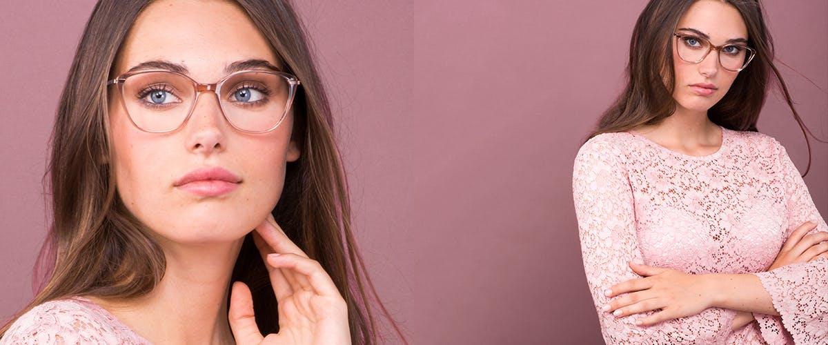 Lunettes tendance Oeil de chat Rectangle Carrée Lunettes de vue Femmes Illusion Rose