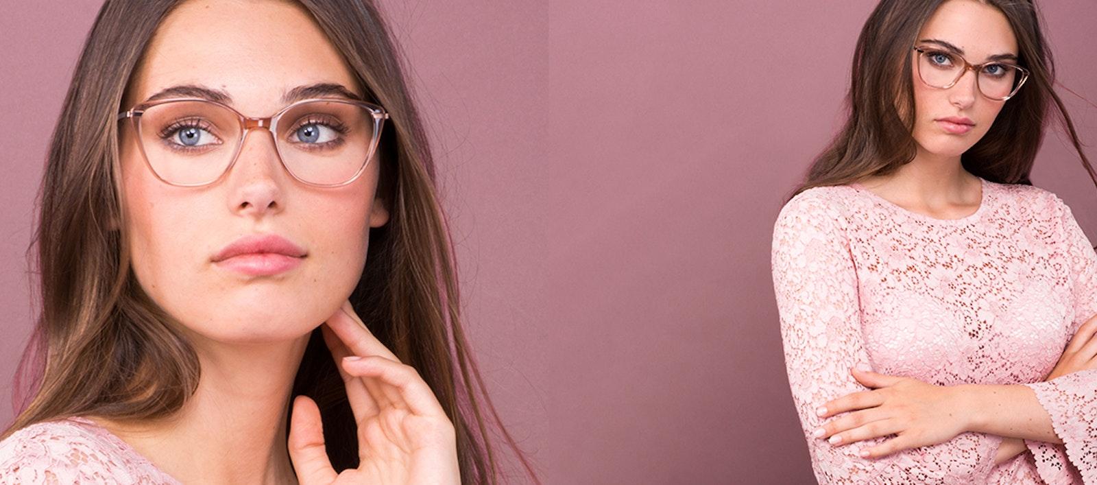 Lunettes tendance Rectangle Carrée Lunettes de vue Femmes Illusion Rose