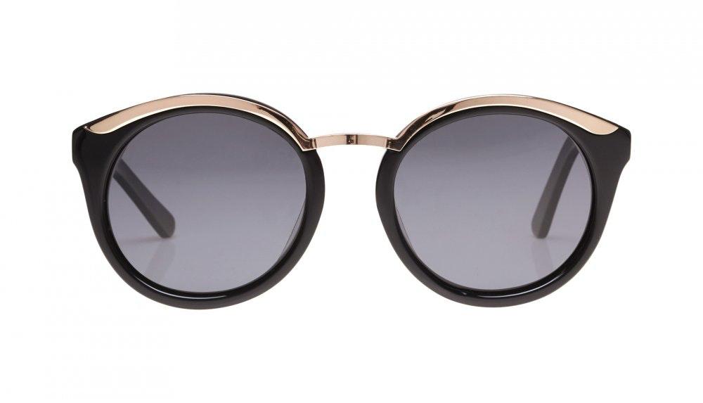 Affordable Fashion Glasses Round Sunglasses Women Lunar Black Front