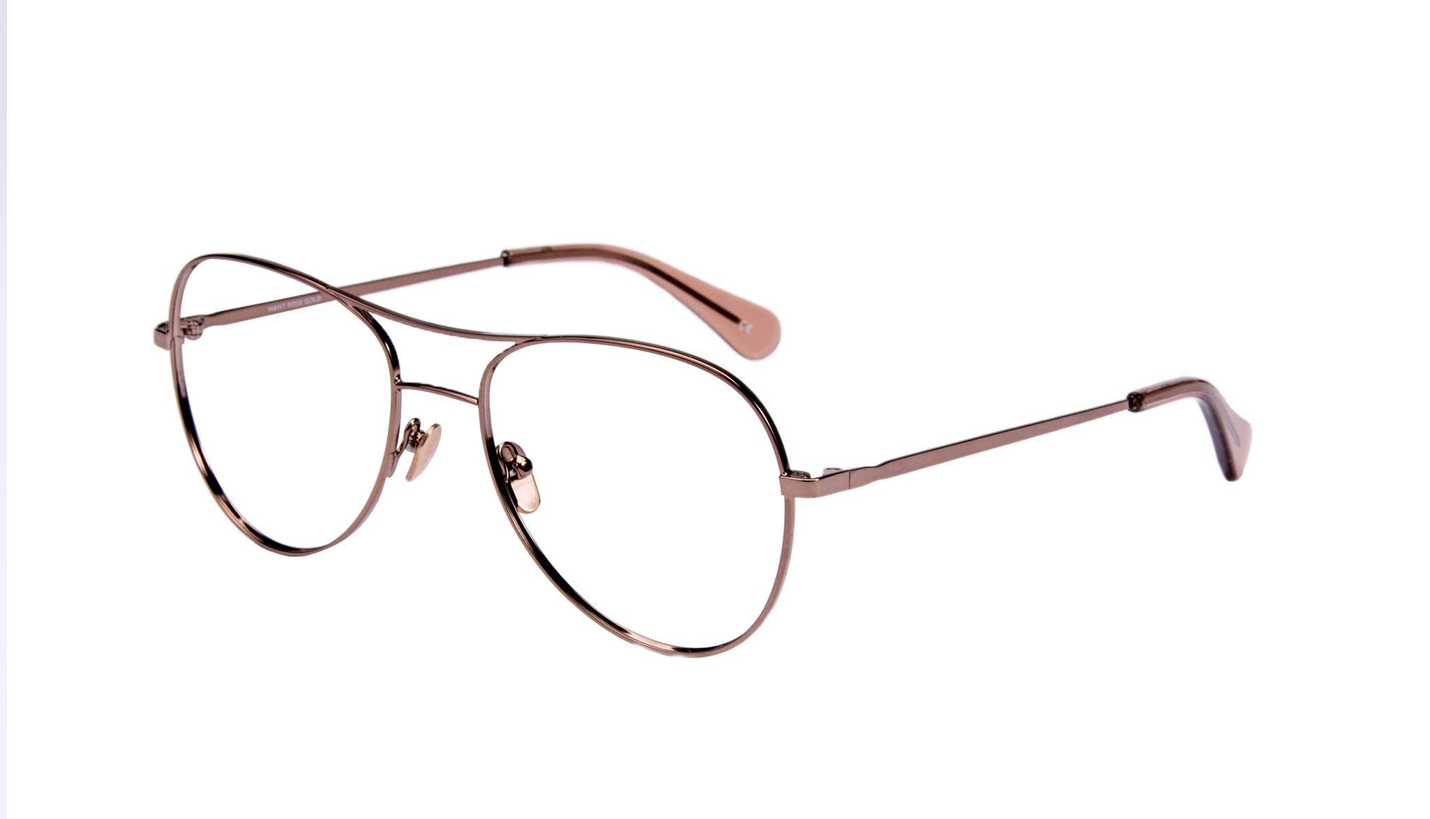 Affordable Fashion Glasses Aviator Eyeglasses Women Want Rose Gold Tilt
